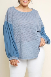 Umgee USA Puff-Sleeve Waffle-Knit Top - Product Mini Image