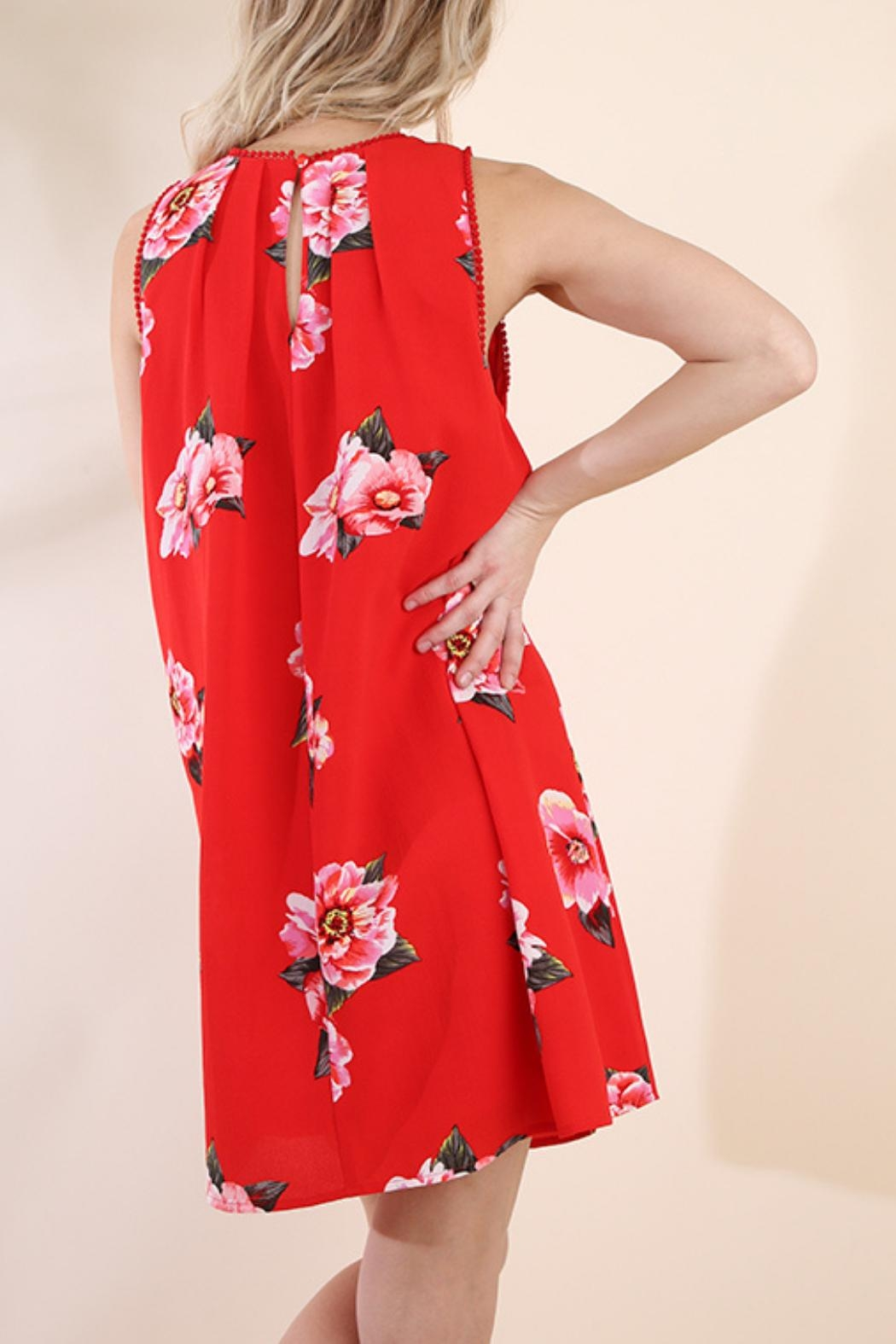 Umgee USA Red Floral Dress - Back Cropped Image