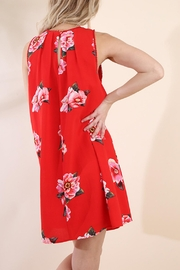 Umgee USA Red Floral Dress - Back cropped