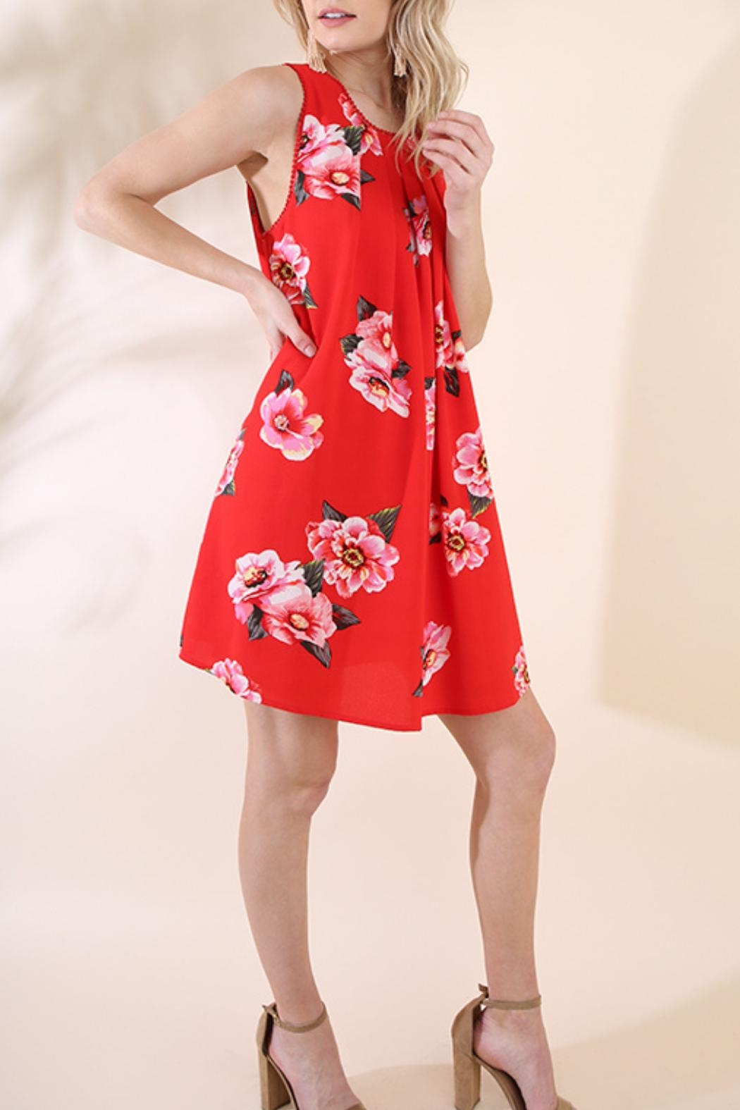 Umgee USA Red Floral Dress - Side Cropped Image