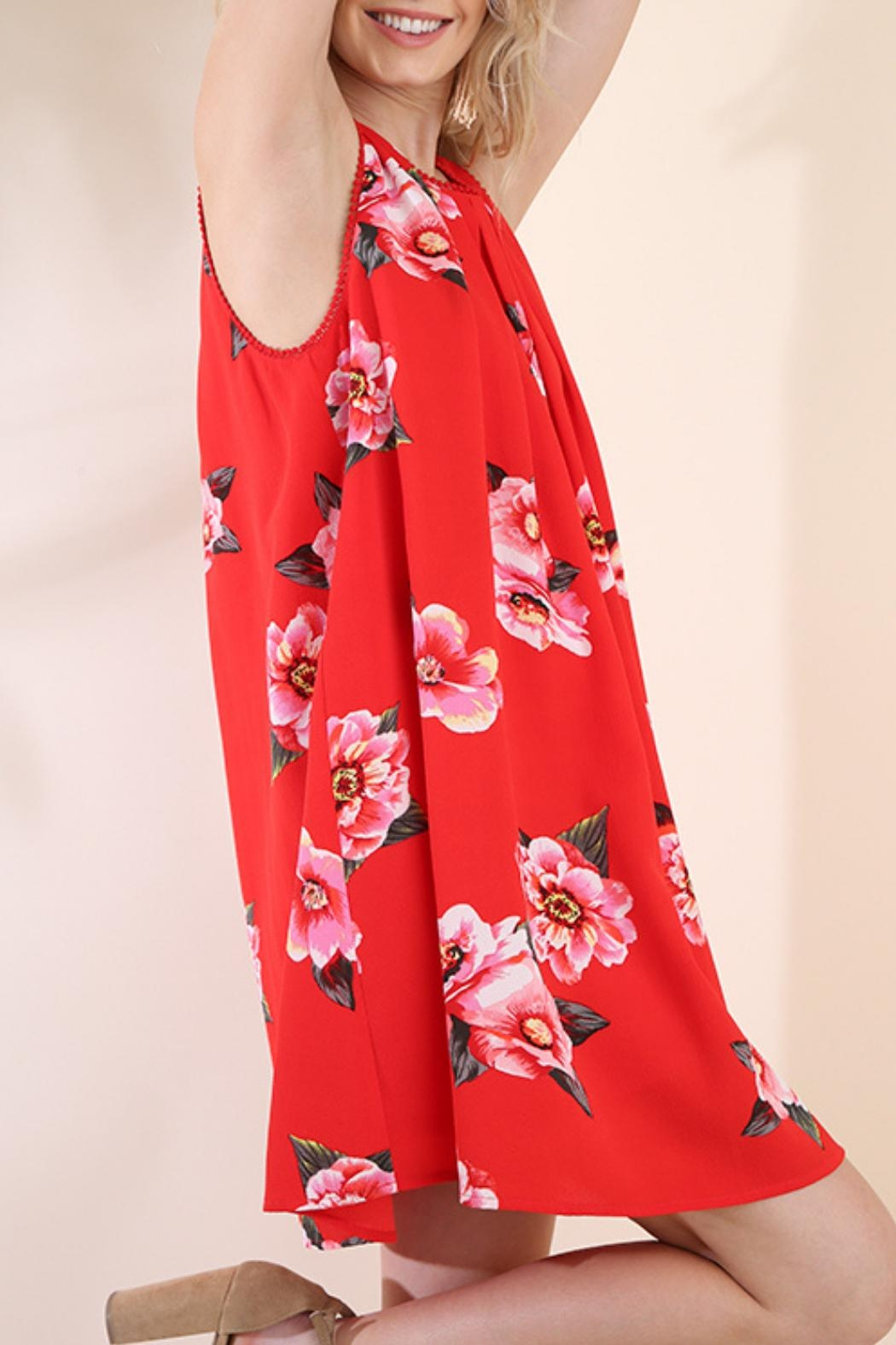 Umgee USA Red Floral Dress - Front Full Image