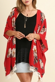 Umgee USA Red Floral Kimono - Front cropped