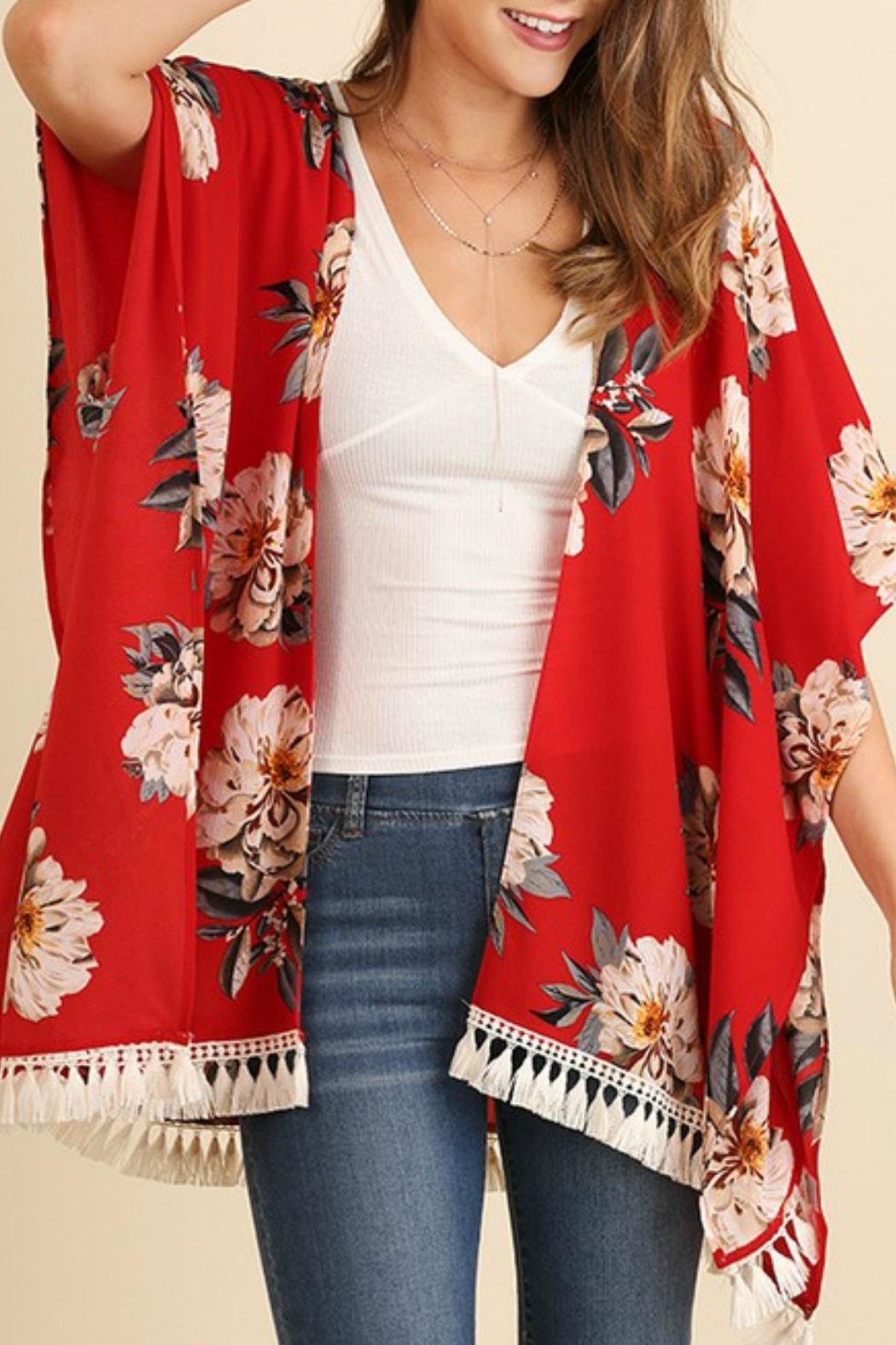 Umgee USA Red Floral Kimono from Texas by Red Poppy — Shoptiques