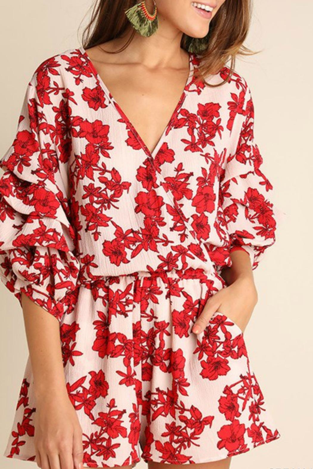 Umgee USA Red Floral Romper - Front Full Image