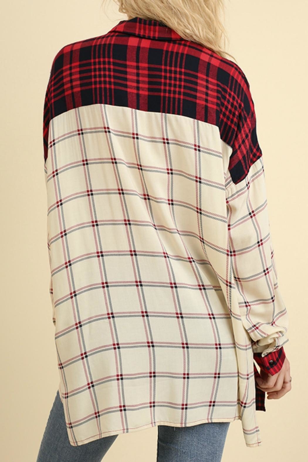 Umgee USA Red & White Flannel - Back Cropped Image