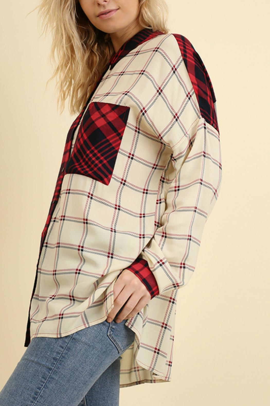 Umgee USA Red & White Flannel - Side Cropped Image