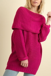 Umgee USA Ribbed Fold-Over Sweater - Product Mini Image