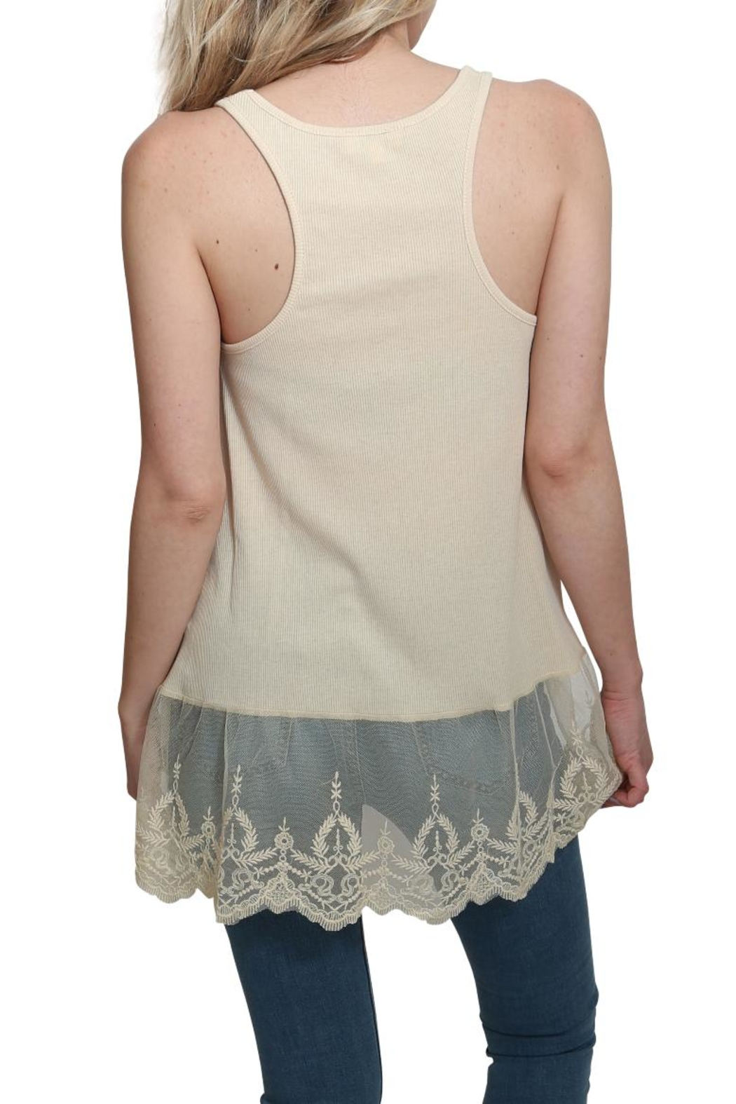 Umgee USA Ribbed Tank Lace Top - Side Cropped Image