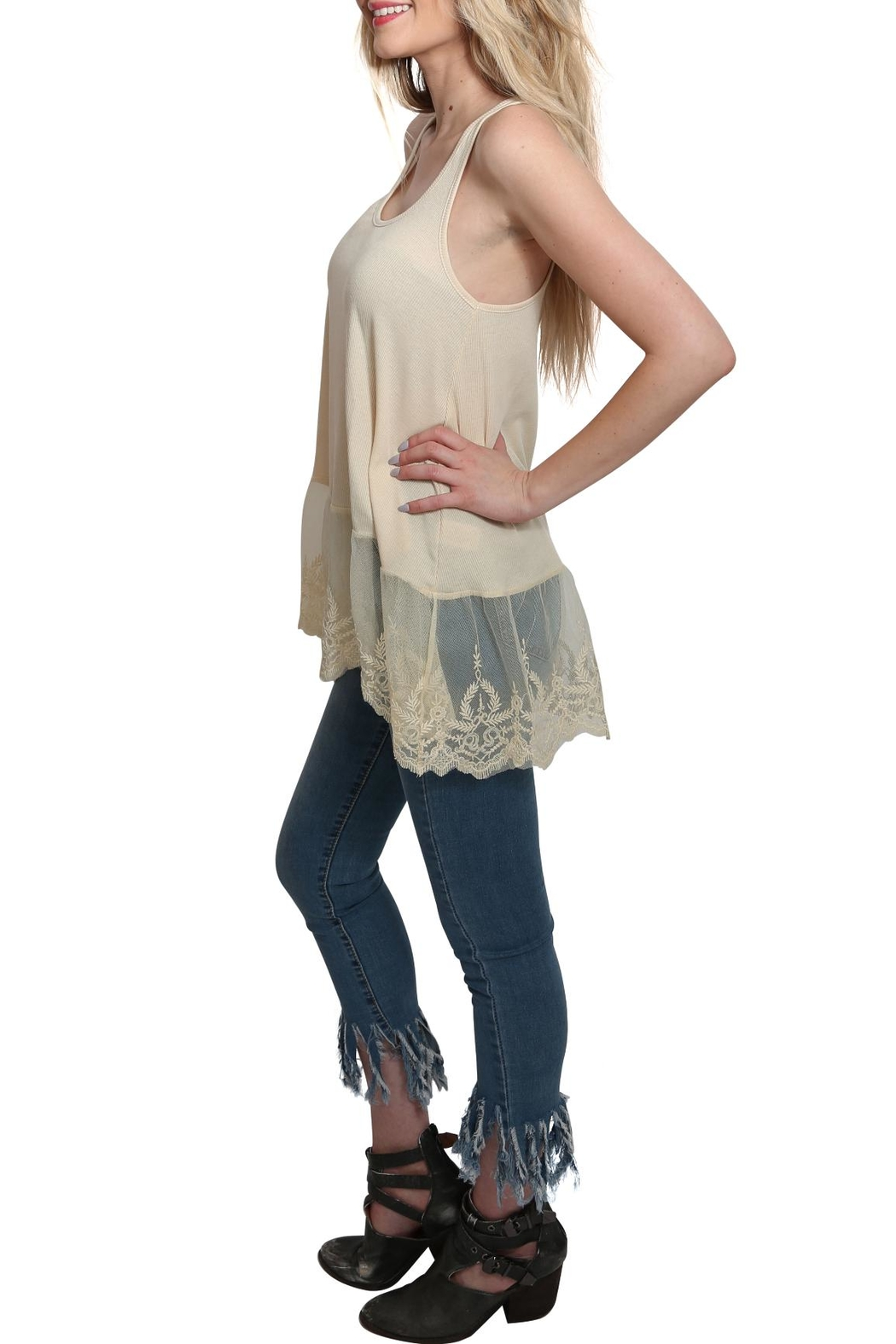 Umgee USA Ribbed Tank Lace Top - Front Full Image