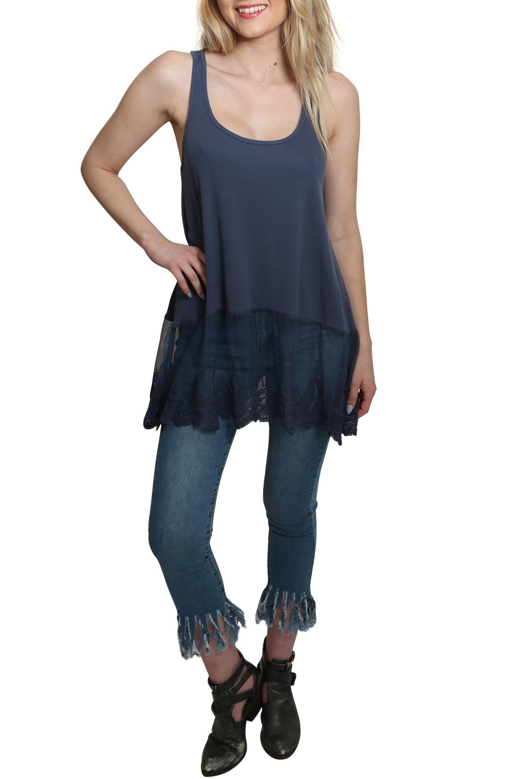 Umgee USA Ribbed Tank Lace Top - Front Cropped Image