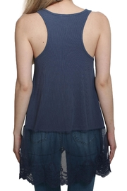 Umgee USA Ribbed Tank Lace Top - Back cropped