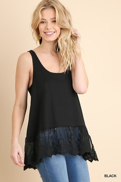 Umgee USA Ribbed Tank With Lace Trim - Product List Image