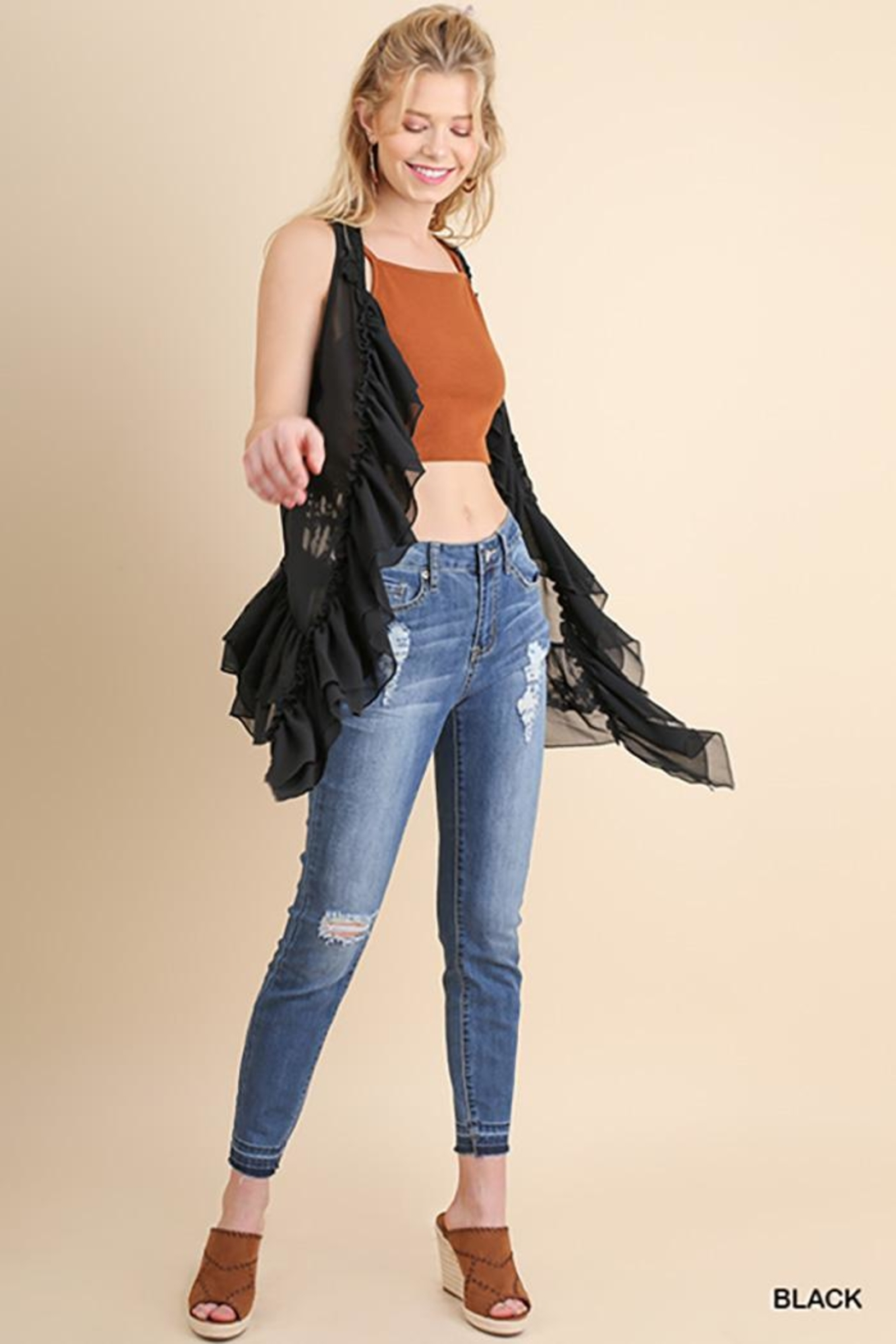 Umgee USA Ruffle And Lace Vest - Front Full Image
