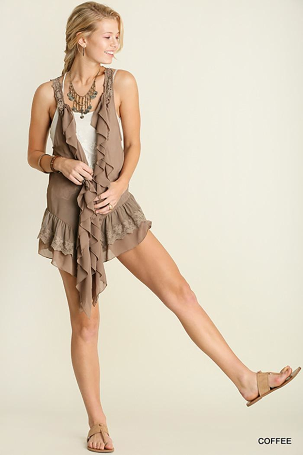 Umgee USA Ruffle And Lace Vest - Front Cropped Image