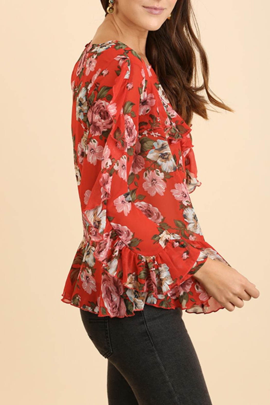 Umgee USA Ruffle Floral Blouse - Front Full Image