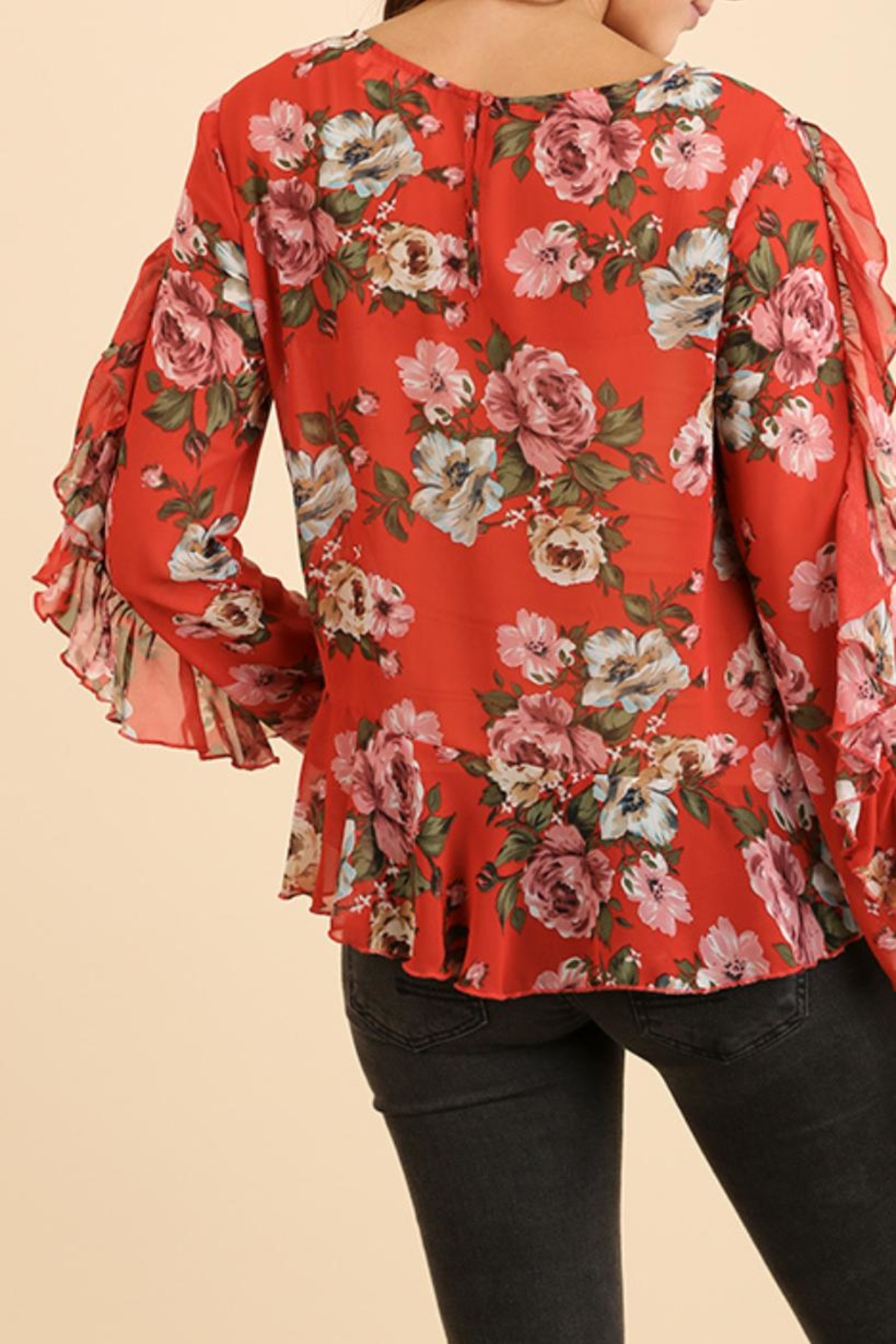 Umgee USA Ruffle Floral Blouse - Side Cropped Image