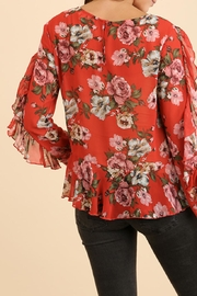 Umgee USA Ruffle Floral Blouse - Side cropped