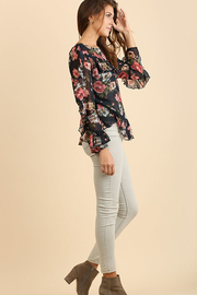 Umgee USA Ruffle Floral Top - Front full body