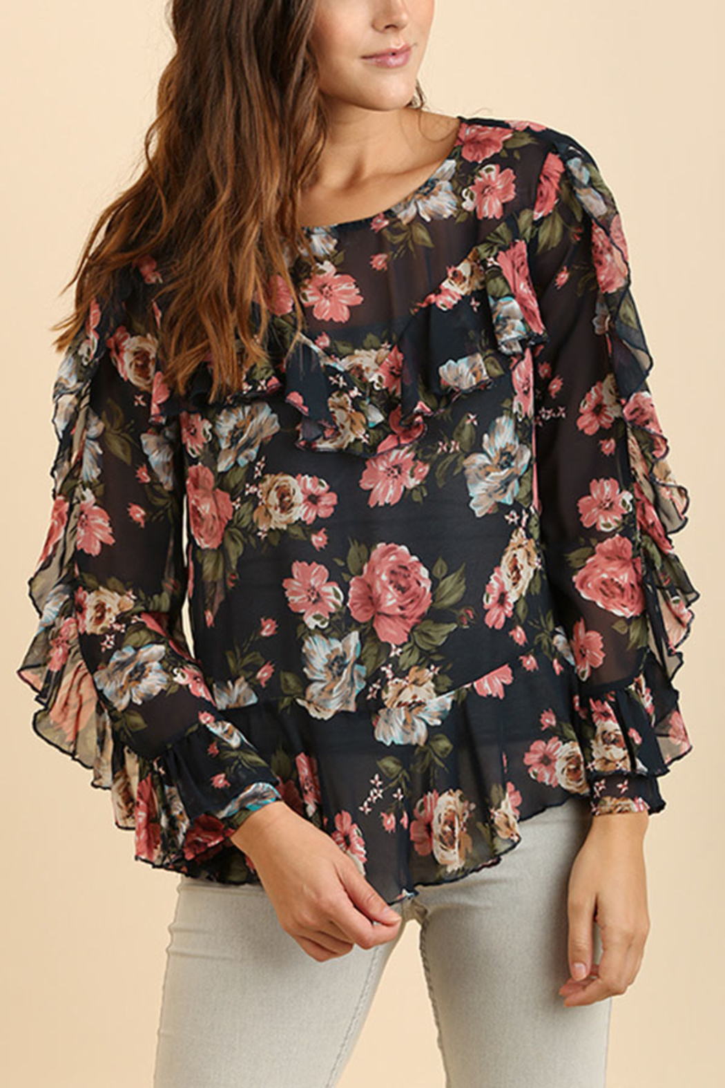 Umgee USA Ruffle Floral Top - Front Cropped Image