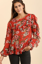 Umgee USA Ruffle Floral Top - Front cropped