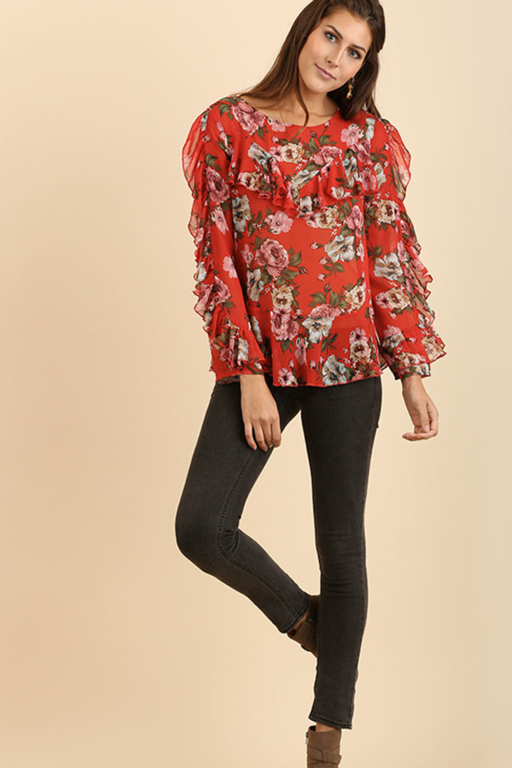 Umgee USA Ruffle Floral Top - Front Full Image