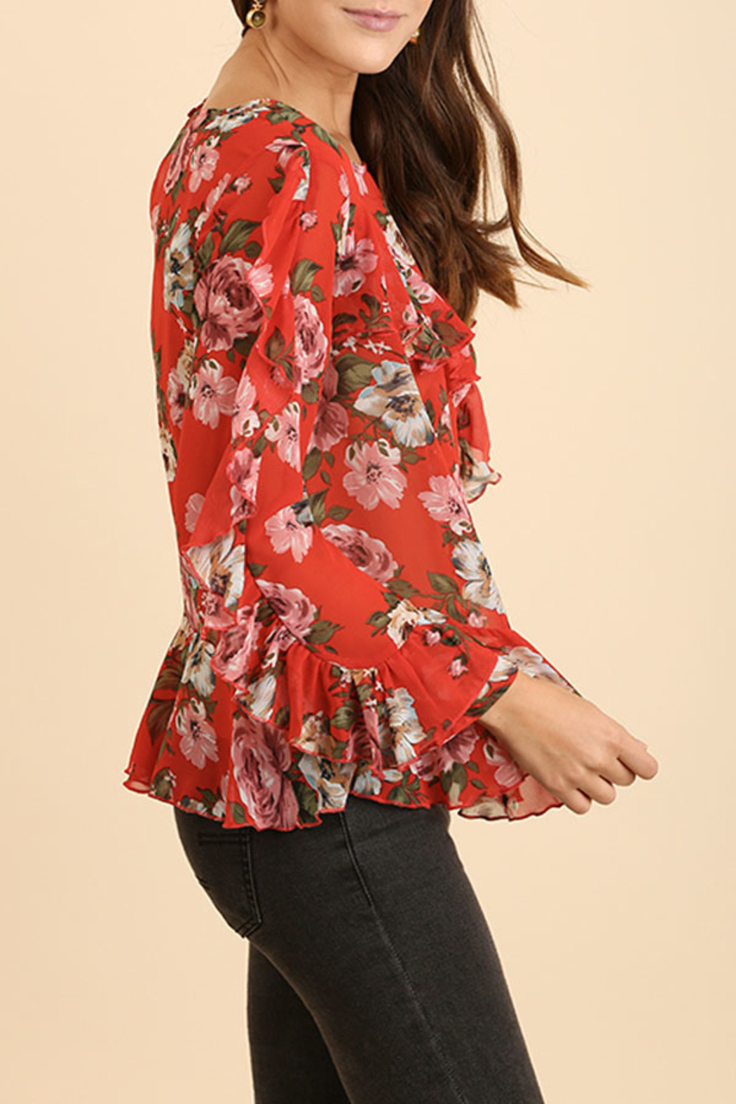Umgee USA Ruffle Floral Top - Side Cropped Image