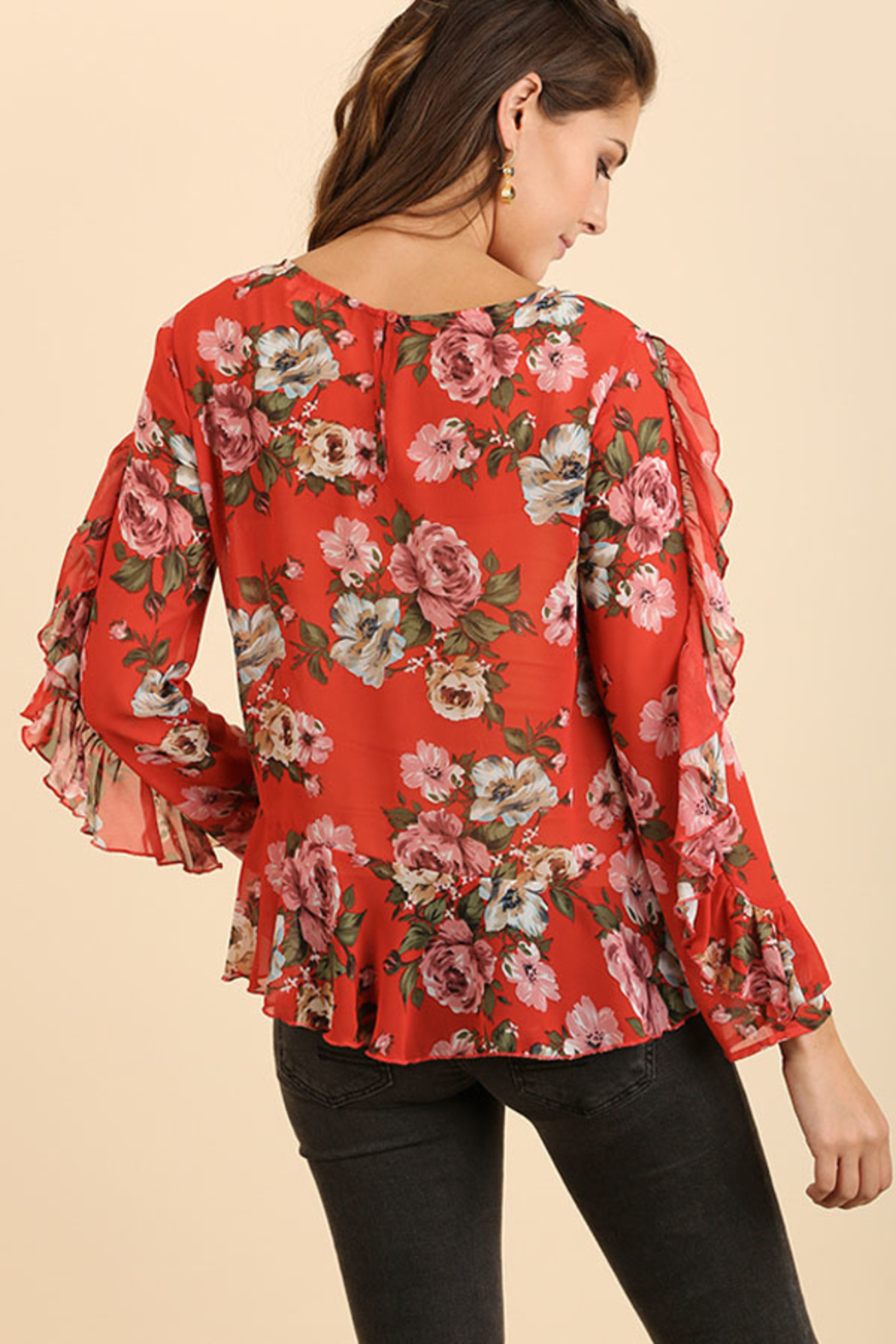 Umgee USA Ruffle Floral Top - Back Cropped Image