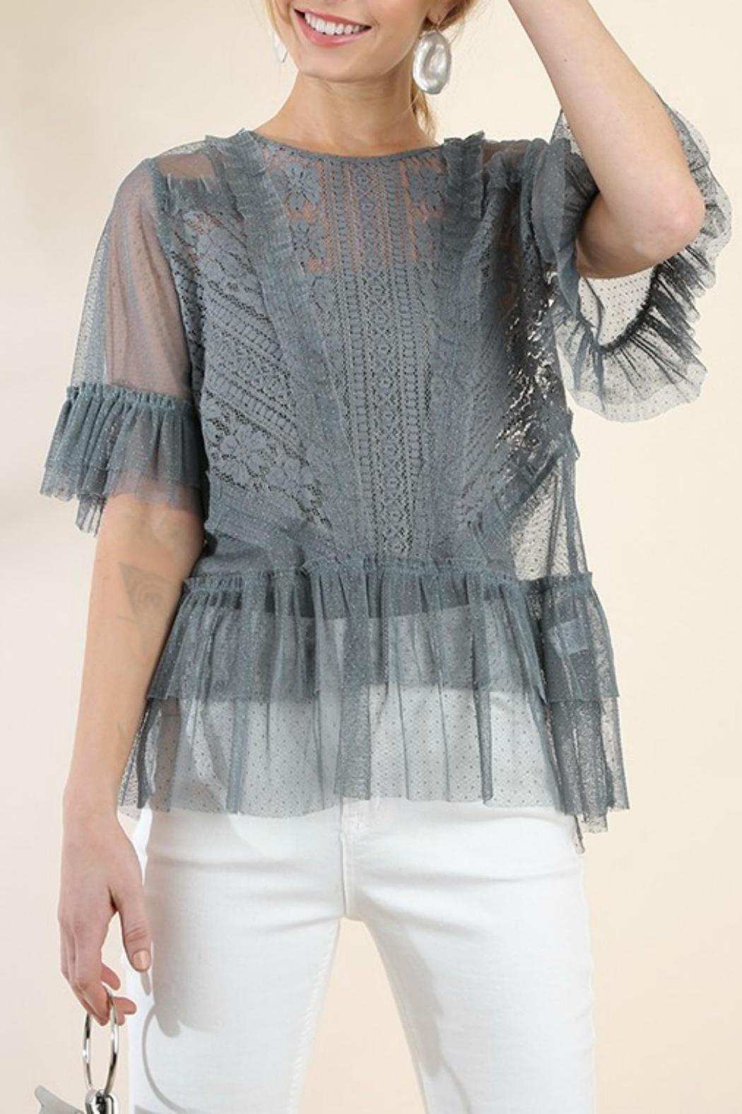 Umgee USA Ruffle Lace Top - Front Full Image