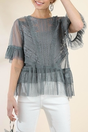 Umgee USA Ruffle Lace Top - Front full body