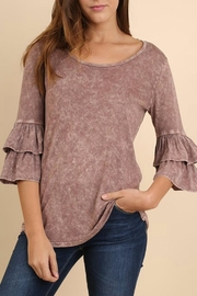 Umgee USA Ruffle Sleeve Top - Front cropped