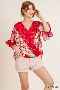 Umgee USA Ruffle Sleeve V-Neck With Scoop Hem - Product List Image