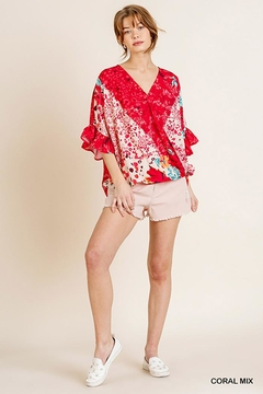 Umgee USA Ruffle Sleeve V-Neck With Scoop Hem - Alternate List Image