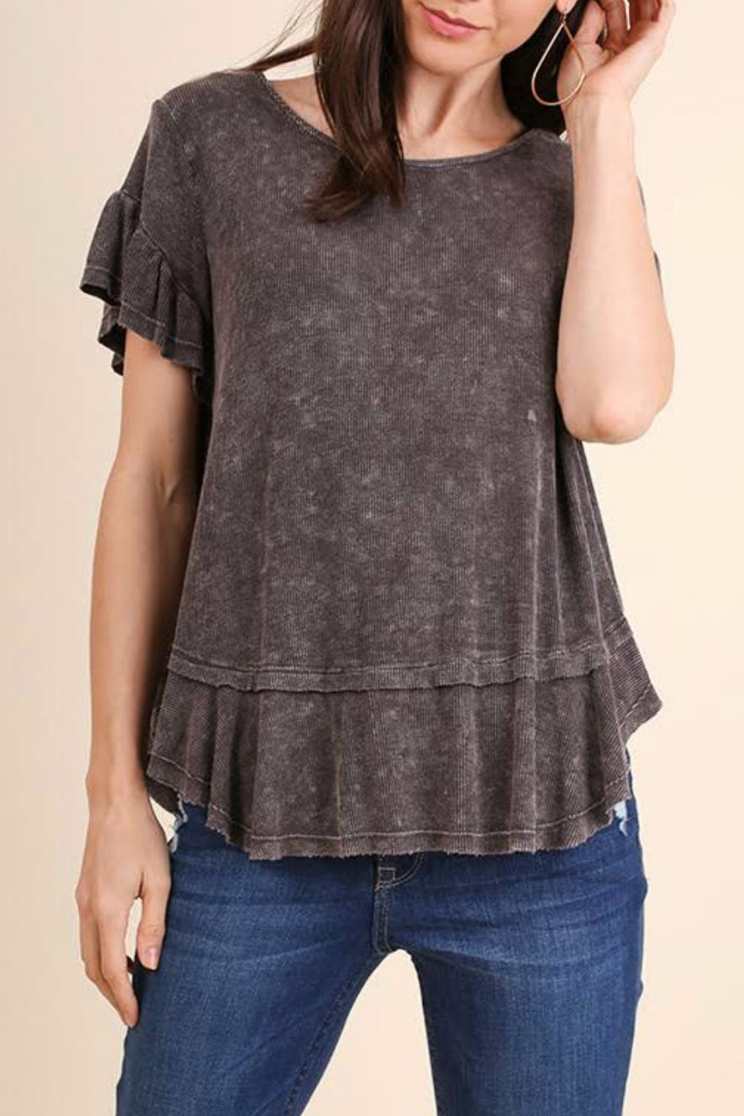 Umgee USA Ruffled Short Sleeve Top - Main Image