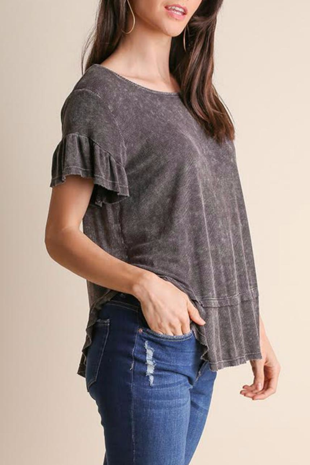 Umgee USA Ruffled Short Sleeve Top - Front Full Image