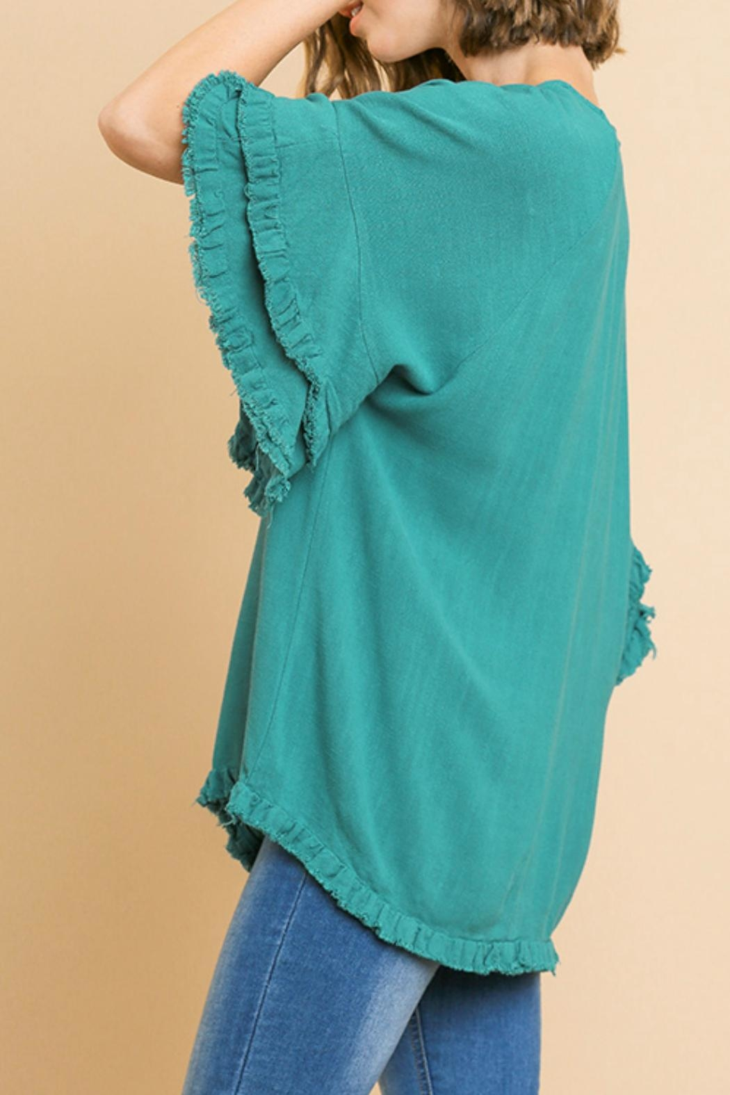 Umgee USA Ruffled Sleeve Top - Front Full Image