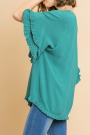 Umgee USA Ruffled Sleeve Top - Front full body