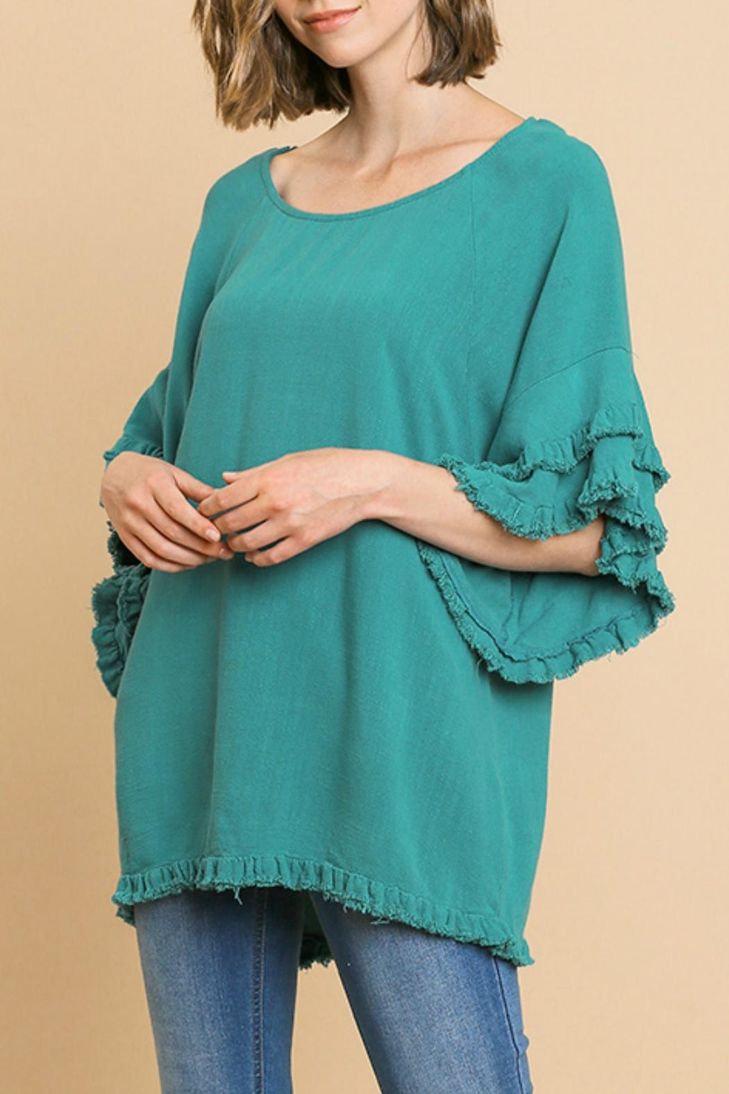 Umgee USA Ruffled Sleeve Top - Front Cropped Image