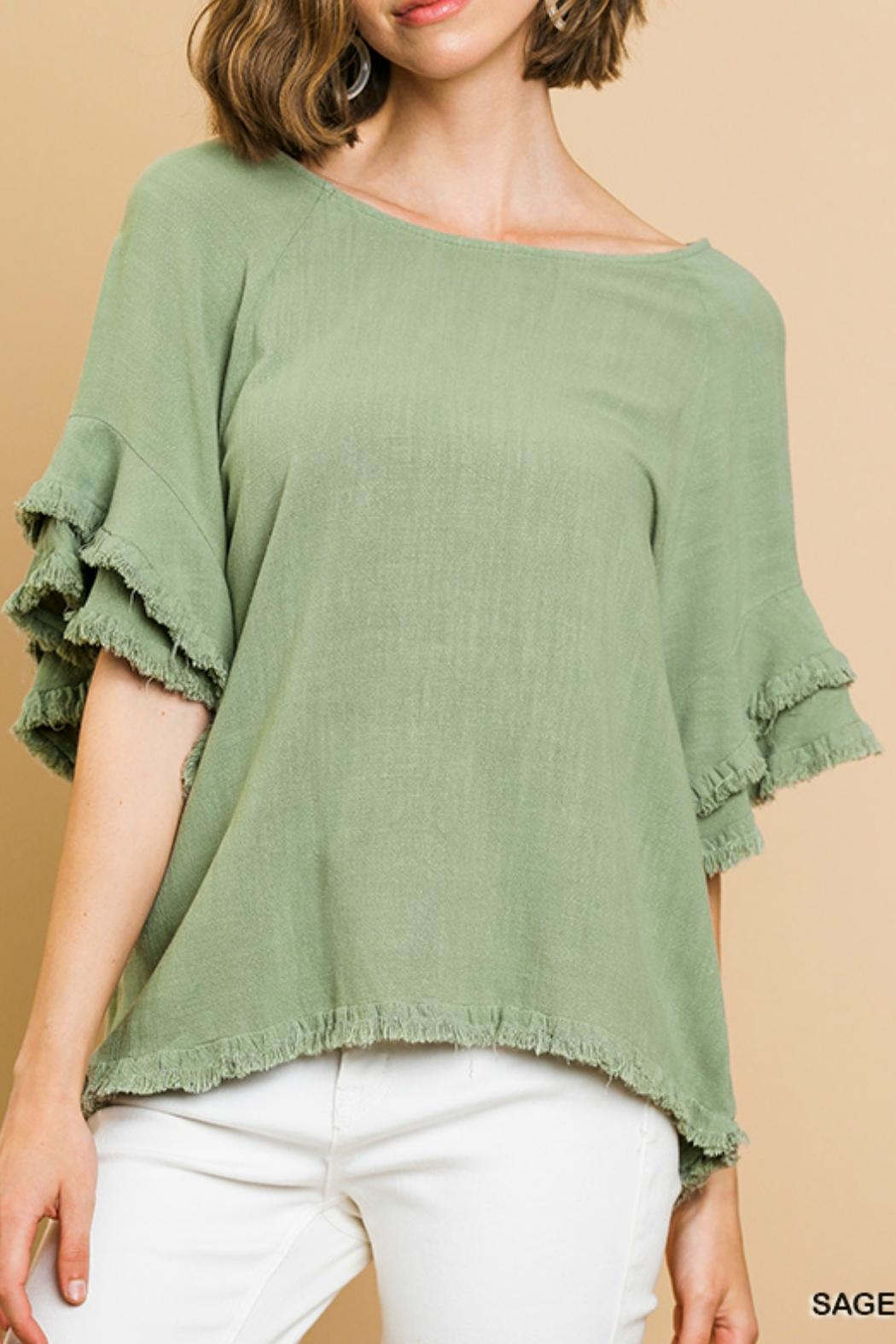Umgee USA Ruffled Sleeve Top - Main Image