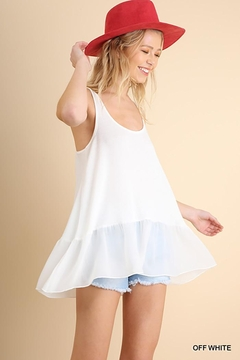Shoptiques Product: Ruffled Up Ribbed Tank Top