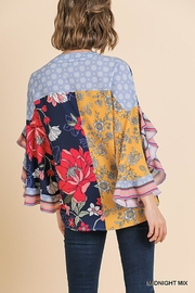 Umgee USA Scallop Sleeve V-Neck - Front full body