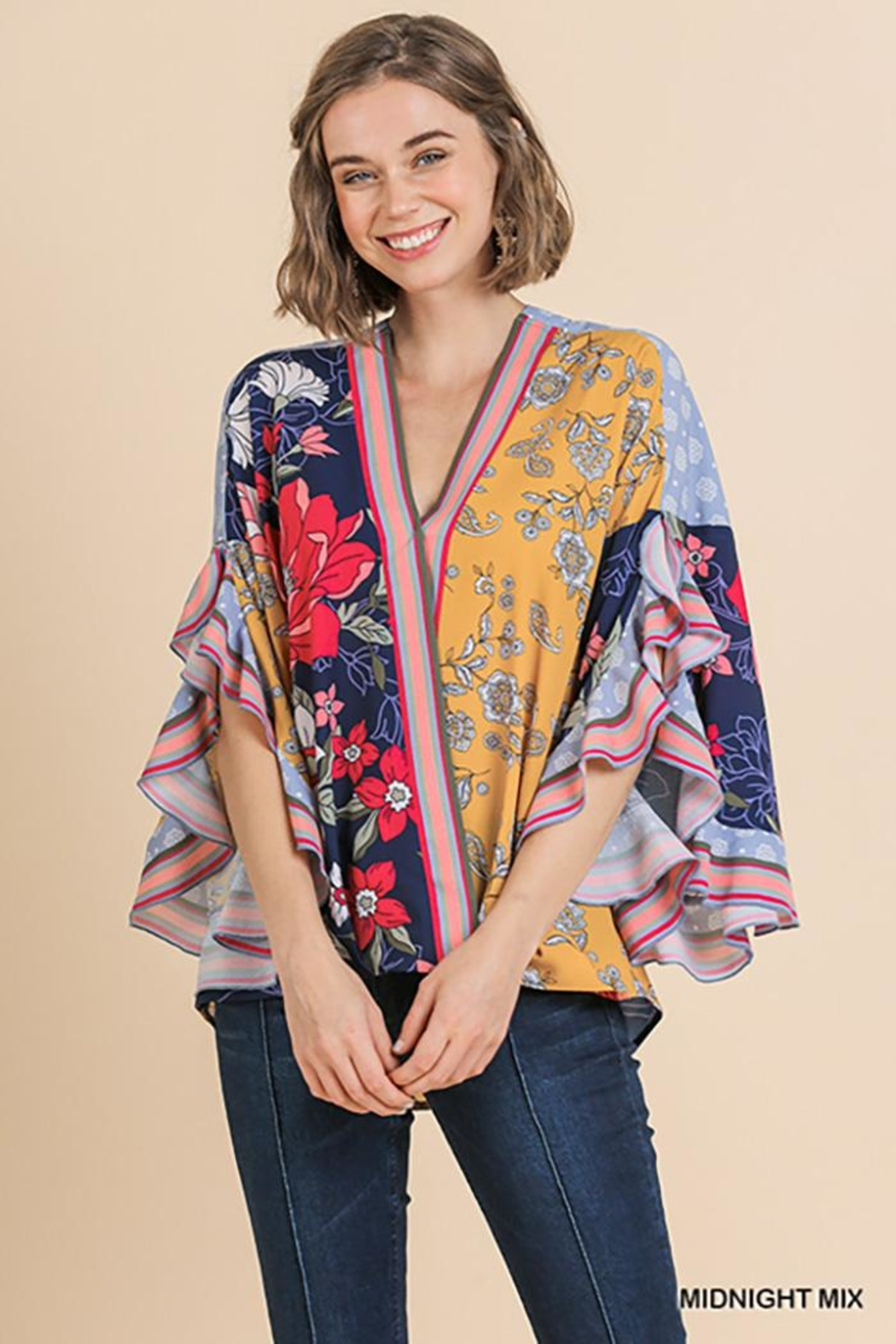 Umgee USA Scallop Sleeve V-Neck - Front Cropped Image