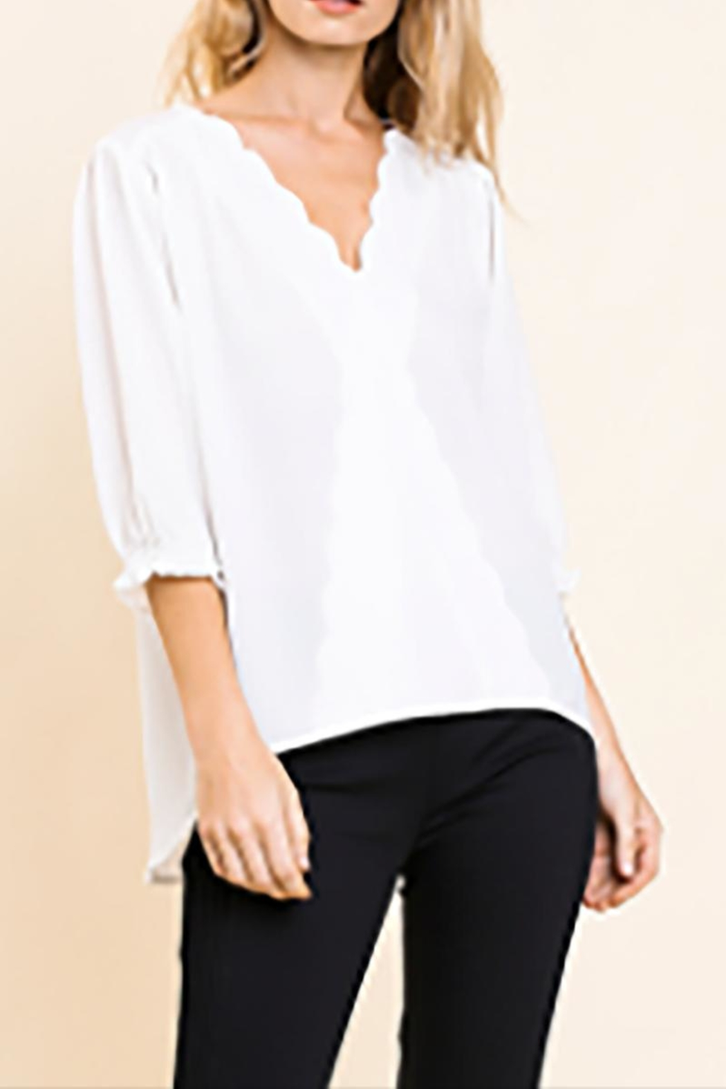 Umgee USA Scalloped V-Neck - Main Image