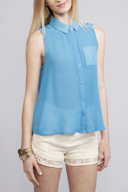 Umgee USA Semi-Sheer Collared Top - Product Mini Image