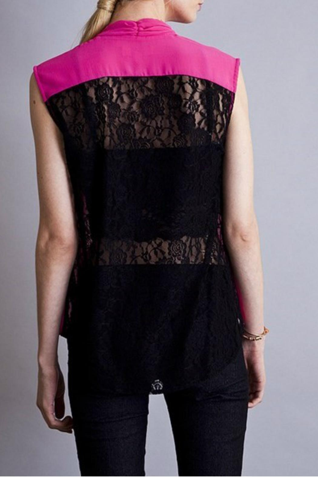 Umgee USA Semi-Sheer Lace Top - Front Full Image