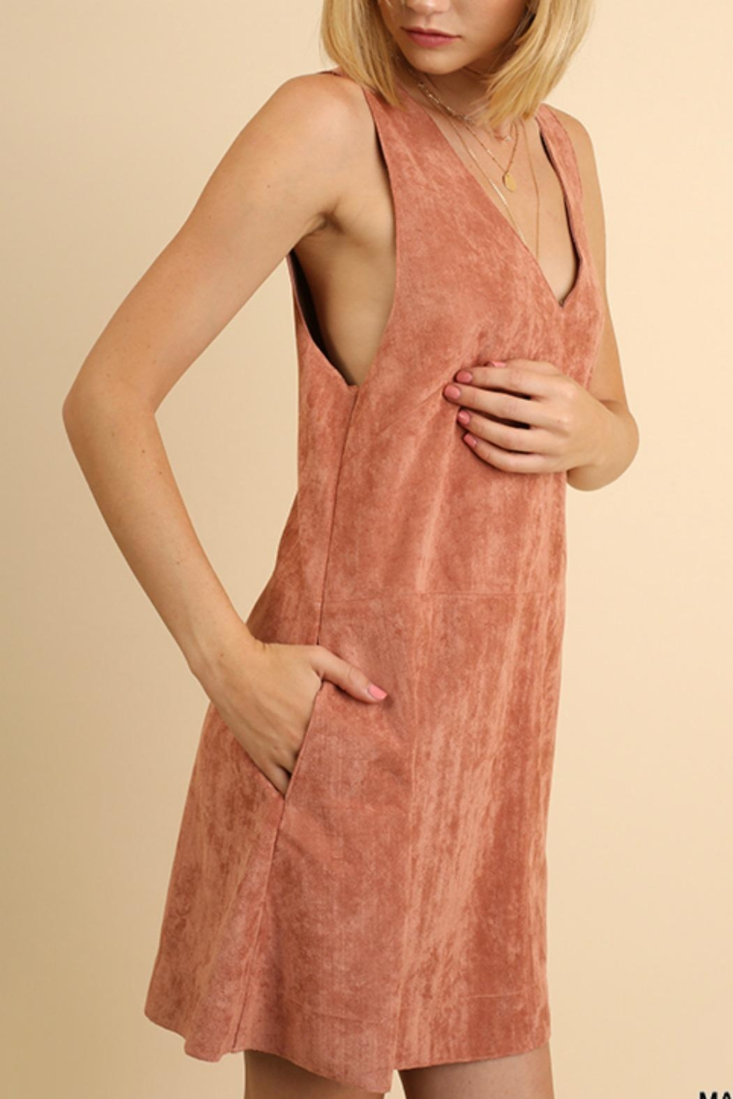 Umgee USA Sexy Suede Dress - Front Cropped Image