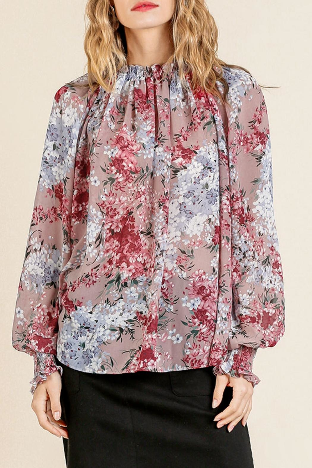 Umgee USA Sheer Floral Top - Front Full Image