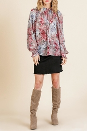 Umgee USA Sheer Floral Top - Front cropped
