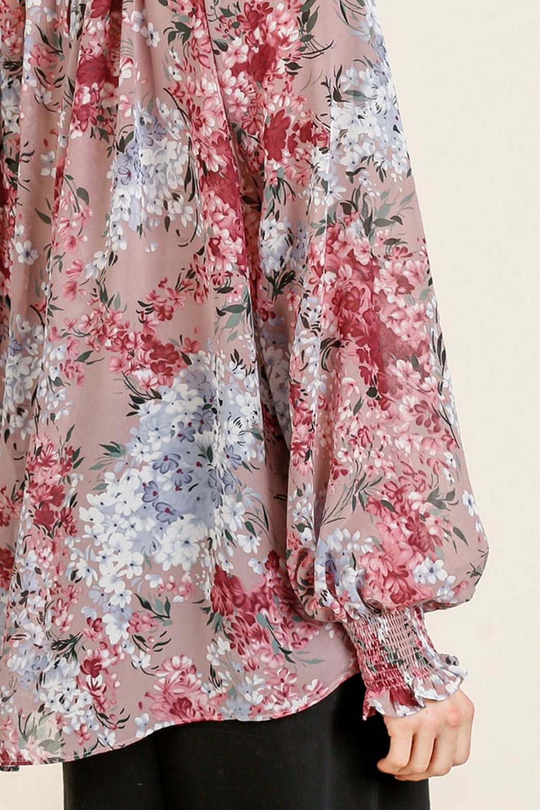 Umgee USA Sheer Floral Top - Side Cropped Image