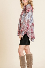 Umgee USA Sheer Floral Top - Back cropped