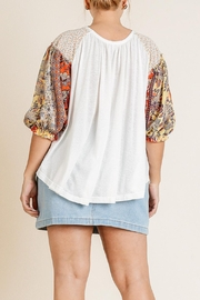 Umgee USA Sheer Puff-Sleeve Top - Back cropped